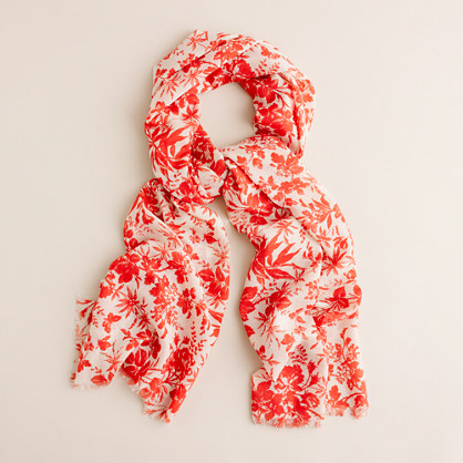 Printed scarf in wool