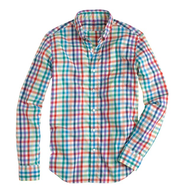 Slim lightweight shirt in multi tattersall