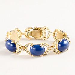 Cabochon and pavé link bracelet