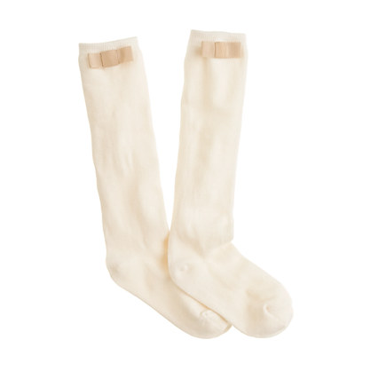 Girls' grosgrain bow knee-highs