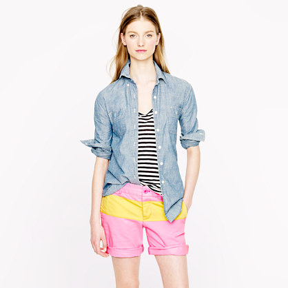Broken-in boyfriend chino short in colorblock