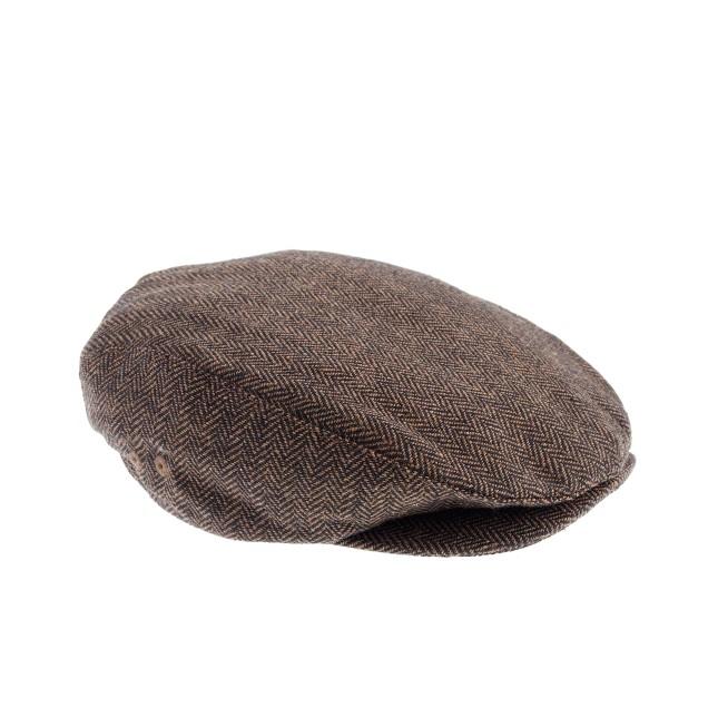Boys' brown herringbone driving cap