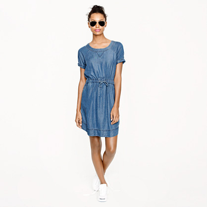 Lightweight washed chambray dress