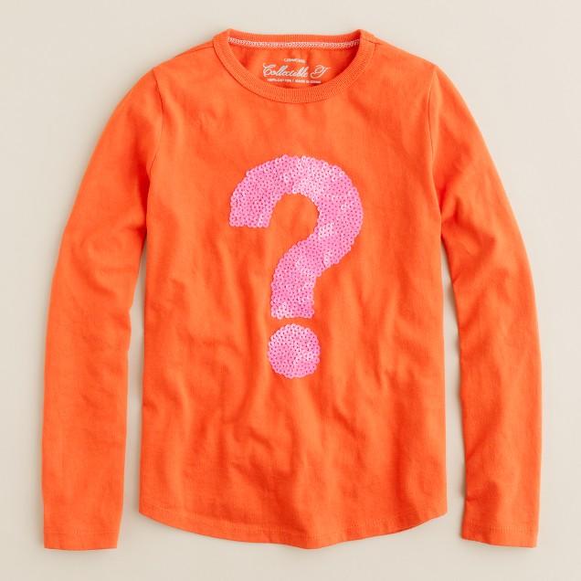 Girls' long-sleeve sequin question mark tee
