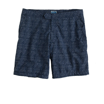 "7"" board shorts in indigo ikat"