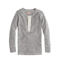 Boys' Homespun Knitwear coal miner henley in twisted jersey
