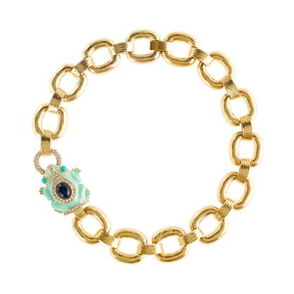 Enameled frog collar necklace