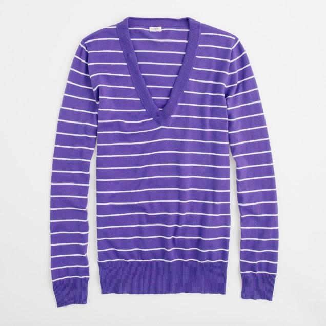Factory stripe V-neck sweater