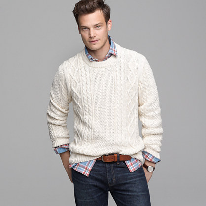 Cotton cable sweater sweaters j crew for J crew mens outfits