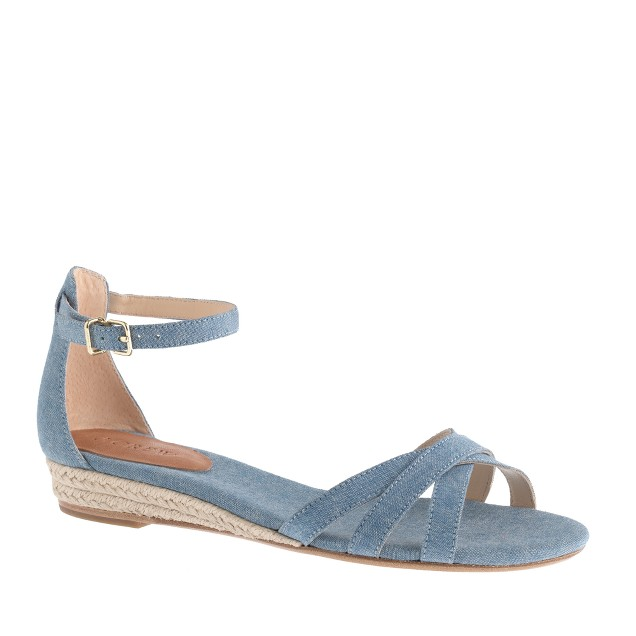 Marina mini-wedge espadrilles in chambray