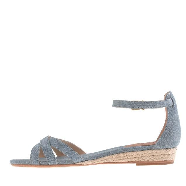 Marina mini-wedge espadrilles in chambray