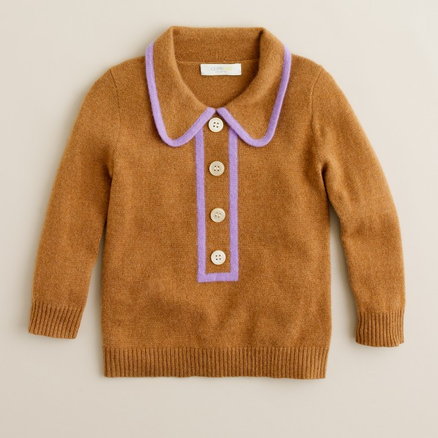 Girls' cashmere tipsy-turvy popover