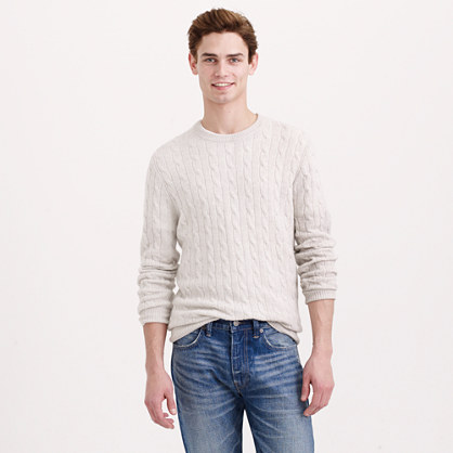 Tall Italian cashmere cable sweater