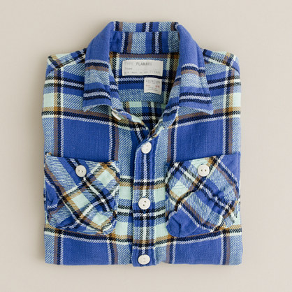 Boys' vintage camp flannel shirt in anchor plaid