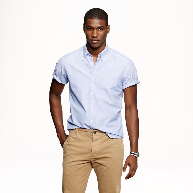 Secret Wash short-sleeve end-on-end shirt