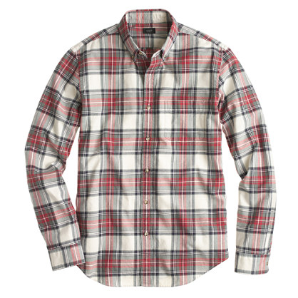 Slim vintage oxford shirt in washed red plaid