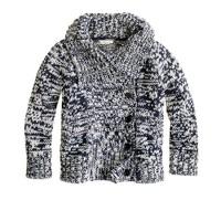 Girls' marled cotton sweater-jacket