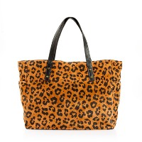 Newsstand tote in leopard suede