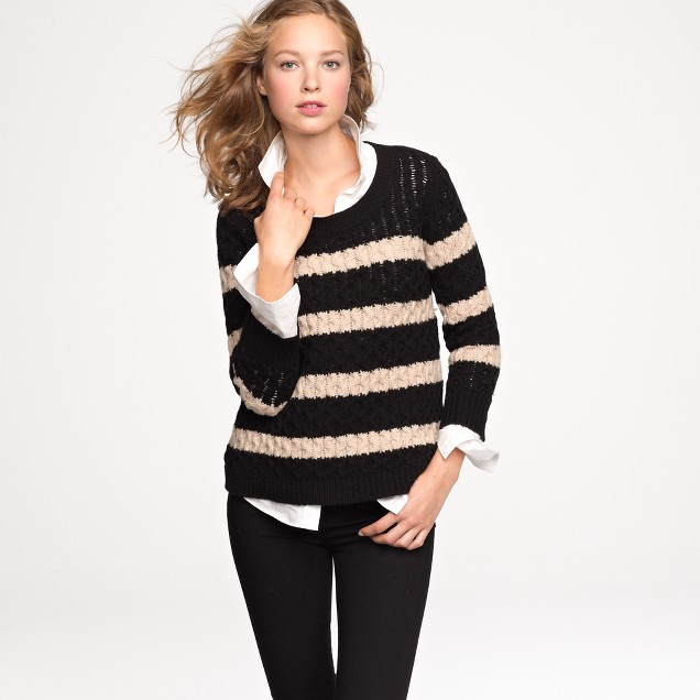 Chainlink cable sweater in stripe