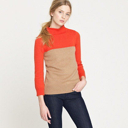 Colorblock minimalist mockneck sweater