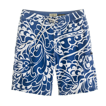 "9"" board shorts in deep water floral"