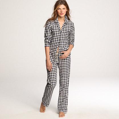 Flannel pajama shirt in gingham sleepwear j crew for Women s flannel sleep shirt