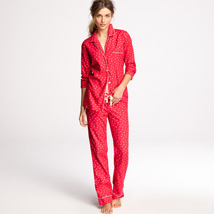 Flannel pajama shirt in polka-dot : sleepwear | J.Crew