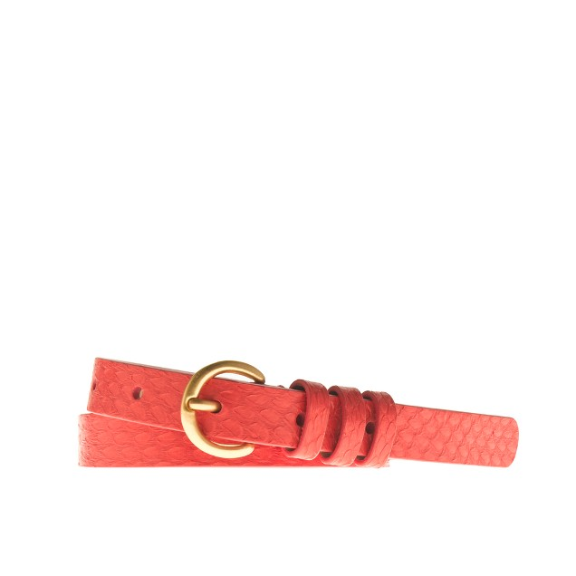 Snakeskin round-buckle belt