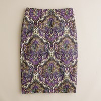 No. 2 pencil skirt in royal paisley