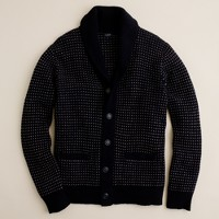 Lambswool dotted shawl-collar cardigan