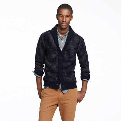 Lambswool dotted shawl-collar cardigan