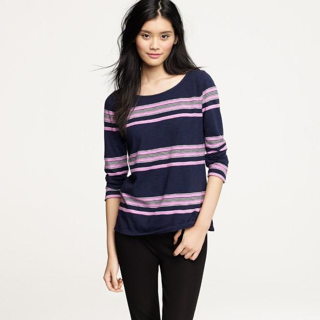 Boardwalk-stripe zipper tee