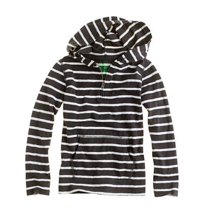 Boys' half-zip hoodie in dugout stripe