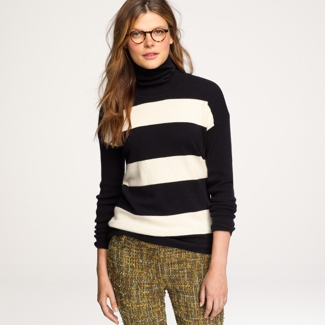 Cashmere rugby-stripe turtleneck sweater