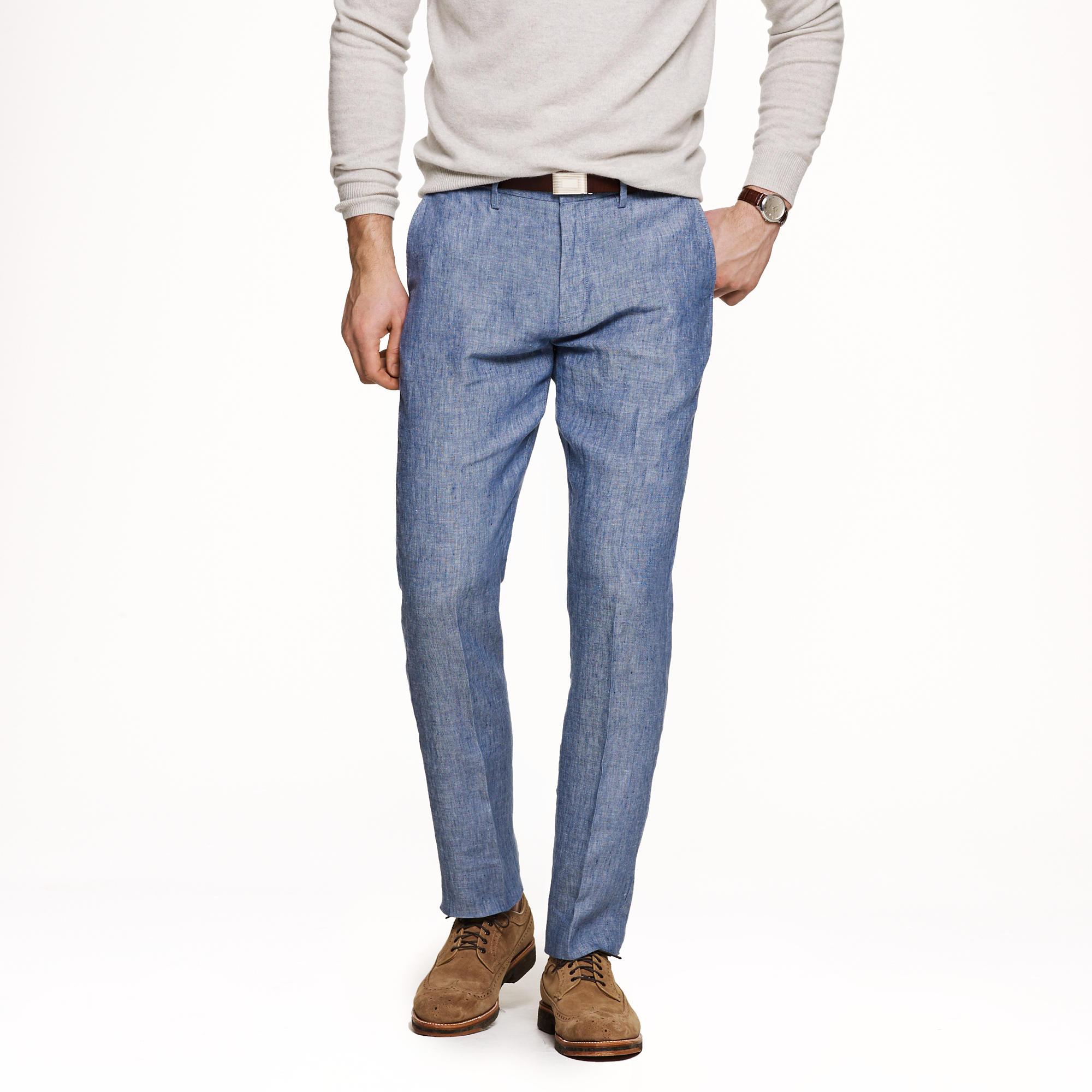 mens slim linen pants - Pi Pants