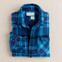 Boys' flannel shirt in lagoon plaid
