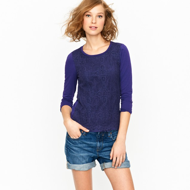 Crochet lace-front tee