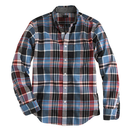 Indian cotton shirt in dark papaya plaid