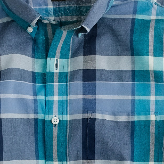 Indian cotton shirt in shaw blue plaid