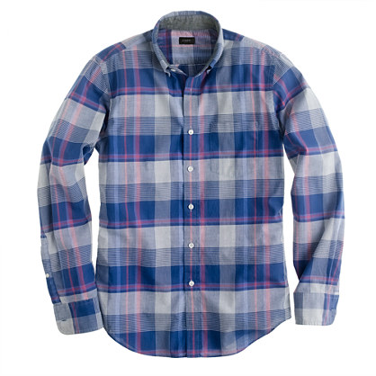 Indian cotton shirt in faded twilight plaid