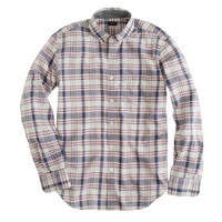 Slim indian cotton shirt in red faded twilight plaid