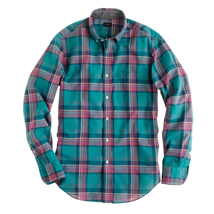 Indian cotton shirt in trellis vine plaid