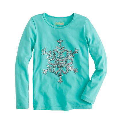 Girls' long-sleeve snowflake tee
