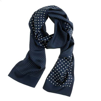 Silk scarf in navy floral
