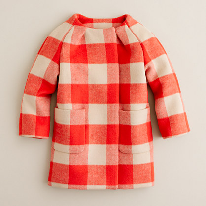 Girls' collarless buffalo check coat
