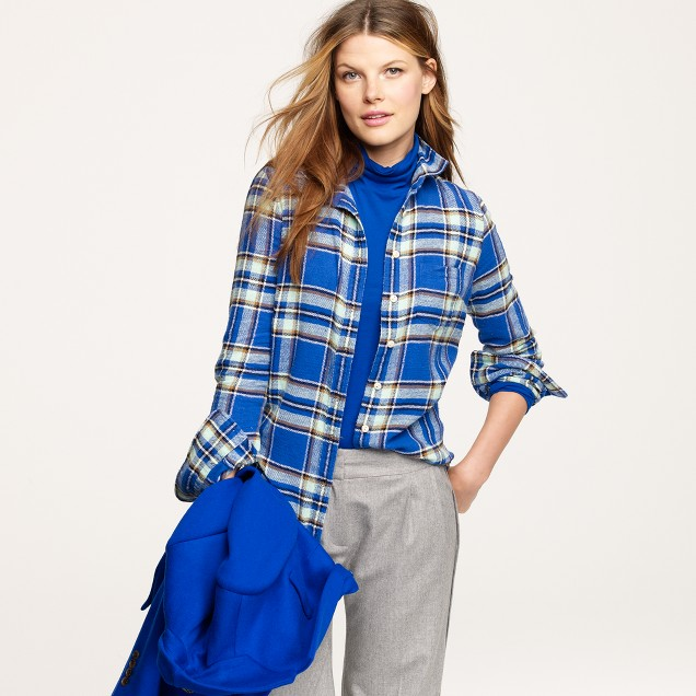 Boy shirt in blue vintage camp flannel