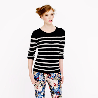 Collection cashmere sweater in pointelle stripe