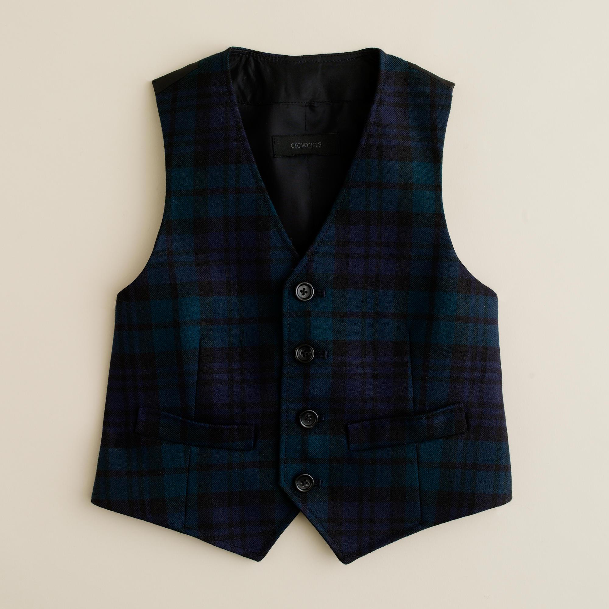 Boys' vest in Black Watch tartan :