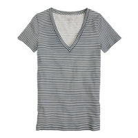 Vintage cotton V-neck tee in stripe