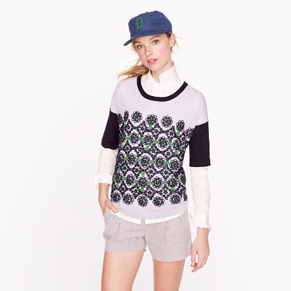 Collection short-sleeve embellished sweater